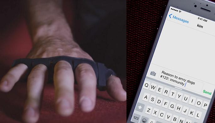 文字入力にキーボードは必要なし! 指にはめればどこでもキーボードになるデバイス開発中