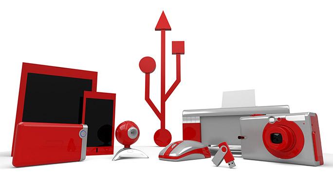 USB Type-Cアイコンと周辺機器